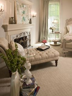 Romantic Gray Master Bedroom with Silver Chaise and Bed Romantic Master Bedroom, Beautiful Bedrooms, Romantic Bedrooms, Glamorous Bedrooms, Home Bedroom, Bedroom Decor, Bedroom Kids, Shabby Bedroom, Bedroom Curtains