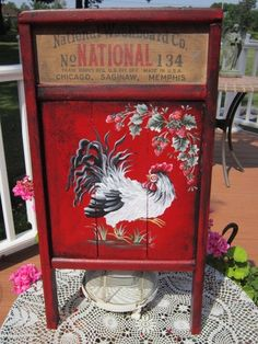 Enamel White Red Trim BAKING PAN HP ROOSTER Hand Painted