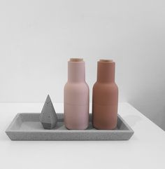 The Minimalist x raw concrete tray + diamond and nude bottle grinders by Menu