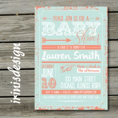 Baby Shower Invitation Printable Coral Mint Green by irinisdesign, $3.99