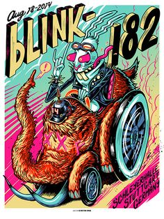 Official Blink-182, Stuttgart, Germany Print by Munk One From the August 18th, 2014 show at the Schleyerhalle. 18x24 on White stock S/N AP Edition of 50 Signed and Numbered by Artist MUNK ONE Made in