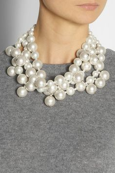 Gold-plated tin and silver Off-white faux pearls Designer-stamped tag Hook fastening Faux Pearl Necklace, Pearl Jewelry, Jewelry Box, Jewelry Accessories, Fashion Accessories, Jewelry Necklaces, Jewelry Design, Pearl Necklaces, Diy Jewellery