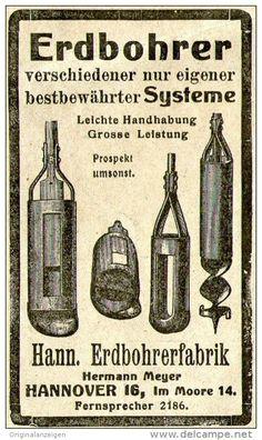 Original-Werbung/ Anzeige 1910 - ERDBOHRER / HANN. ERDBOHRERFABRIK - HANNOVER  - ca. 50 x 80 mm