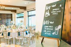 drink menu - photo by Honey Honey Photography http://ruffledblog.com/stylish-pacific-palisades-beach-wedding