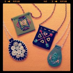Leather & stitches necklaces...what do think? by lova revolutionary, via Flickr
