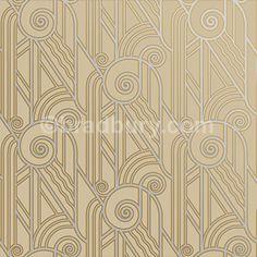 Bradbury Retro Wallpaper | Art Deco Volute Wallpaper in Oyster