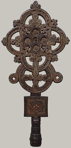 Processional Cross, 16th century (ca. 1500)  Ethiopia, Tigray region; Amharic  Wood, tin