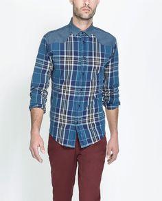 CAMISA CUADROS CANESÚ DENIM - Camisas - Hombre | ZARA España