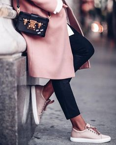 Love the blush coat and kicks