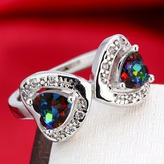 Double Heart Rainbow Topaz Silver Plated Ring Various Sizes | eBay
