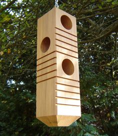 Woodpecker Bird Feeder From Recycled Wood, With Chain And 6 Feeding Stations…