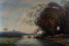 "Vintage Landscape Painting Original Oil on Stretched Canvas 24""X36"" | eBay"