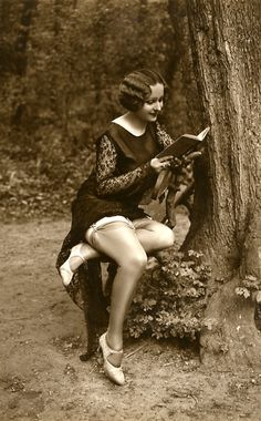Vintage. Outdoors, reading, stockings