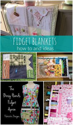 fidget blankets ideas and how tos - these are so great for young and old. So simple to make with the things I already have-- maybe make a few for donation.