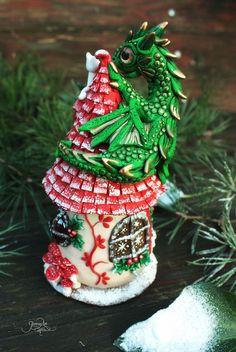 Christmas dragon house - fairy house tealight holder - fantasy sculpture - xmas decoration - dragon cat - winter - polymer clay - ooak - fimo art - hadmade - by GloriosaArt