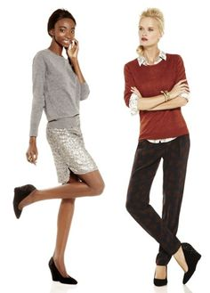 Pair printed pants with a chic wool sweater and patterned shirt. Add some sparkle with a glittery skirt and dress it down with a cozy cashmere sweater.