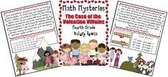 4th grade Valentine Villains Math Mystery $5.99