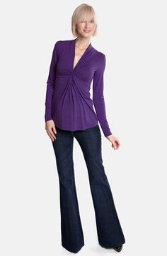 I LOVE this color and the shape of this shirt.   Olian Twist Front Jersey Maternity Top | Nordstrom