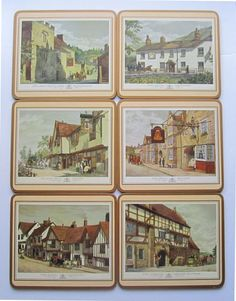 Vintage Cork Pimpernel Placemats  Made in England  Old English Cottages  Available on eBay!