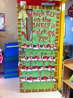 Which elf on the shelf is watching you? Door decorating contest for Christmas