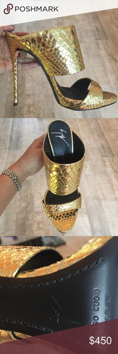 Giuseppe zanotti gold heels Beautiful open toe gold heels. Size 37. 100 % authentic. Made in Italy. This is my store display with minimal damage that is unnoticed in the front. (See last picture) and it's my last pair!!!! Feel free to throw offers, but please, reasonable ones :) also check out my Instagram @thesuitemiamibeach Giuseppe Zanotti Shoes Heels