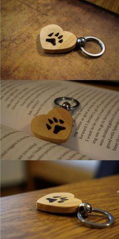 Dog/Cat Paw Keychain, Handmade Keychain, Wooden Keychain, Scroll Saw, Pyrography, Wood Burning, Animal Keychain, Pet Keychain, Paw Keychain