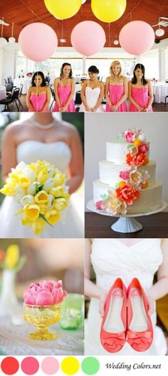 Yellow, Pink & Coral Spring Wedding Palette