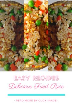 Easy and Delicious Fried Rice rice recipe easy chinese food eggs Rice Breakfast Recipes, Vegetarian Rice Recipes, Healthy Asian Recipes, Chicken Rice Recipes, Asian Dinner Recipes, Easy Rice Recipes, Fried Rice Recipe Indian, Chinese Dishes Recipes, Skinnytaste