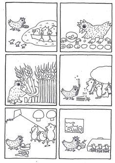 6 images séquentielles de l'album: La petite poule rousse