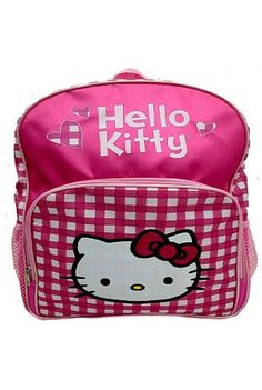 Hello Kitty Hearts and Pink and White Plaid School Backpack *** Read more reviews of the product by visiting the link on the image.Note:It is affiliate link to Amazon.