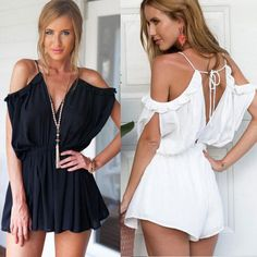 2015 Summer Loose Jumpsuit Sexy Deep V-neck Spaghetti Strap Off Shoulder Rompers For Women Beach Short Jumpsuit from Tfdmarket,$10.48 | DHgate.com