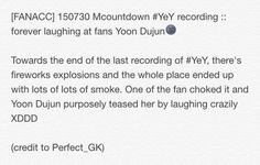 [FANACC] 150730 Mcountdown #YeY recording :: forever laughing at fans Yoon Dujun