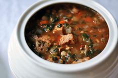 Ribollita soup (Tuscan soup)  - This version is fast to put together using frozen spinach, cannellini beans, and a can of diced tomatoes, and of course some home made or not chicken stock.