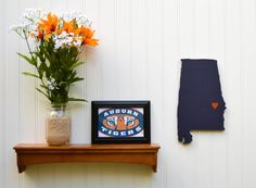 "Auburn Tigers  ""State Heart"" wall art, handcrafted wood featuring official team…"