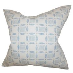 "The Pillow Collection Jeune Geometric Throw Pillow Color: Blue, Size: 22"" x 22"""