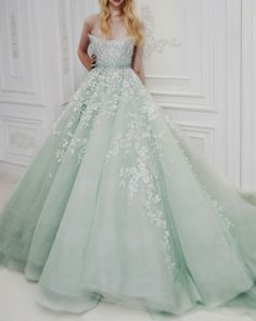 This would never happen but wow - Amazing pale mint wedding gown