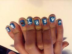 warriors basketball nails... the thumbs are basketballs:)
