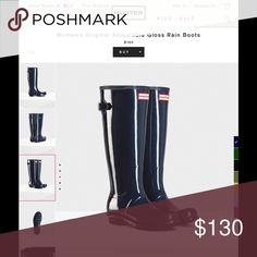 Women's Hunter Original Tour Gloss Boots Brand New. Size 7. Navy Blue Hunter Boots Shoes Winter & Rain Boots