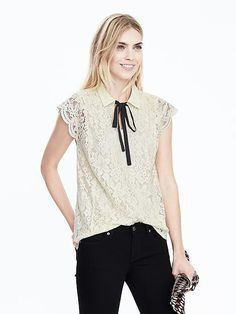 the prettiest lace tie blouse! obsessed! #bananarepublic