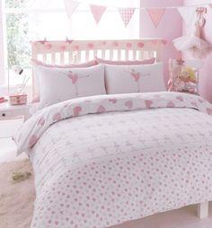 Ballerina & Hearts design reversible Children's bedding duvet cover & pillow ...