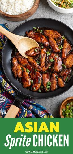 Asian Sprite Chicken - delicious tender strips of chicken in a sweet spicy asian style sauce made with sprite soda. Slimming World and Weight Watchers friendly Wheat Free Recipes, Duck Recipes, Asian Recipes, Ethnic Recipes, Slimming World Chicken Dishes, Pork Recipes For Dinner, Meal Recipes, Recipies, Slimming Eats