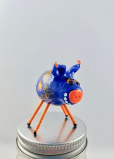 Mini Smiling Pig Blue and Orange with Smileys and Orange Legs