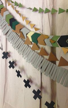 Black Green Grey Brown & Gold Geometric Garland by LaCremeBoutique
