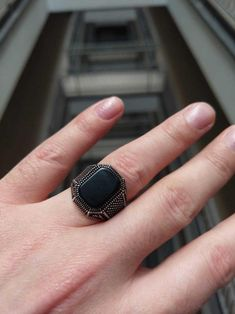 Mens Gemstone Rings, Onyx Marble, Types Of Rings, Handmade Silver, Sterling Silver, 925 Silver, Natural Stones, Man Ring, Rings For Men