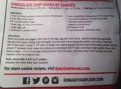 Chocolate Chip Oatmeal Cookies from King Arthur flour bag