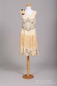 1920's Champagne Silk & Steal Beaded Vintage Wedding Dress