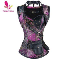 New Sexy Women Steampunk Corset Punk Purple Black Faux Leather Floral Steel Boned Bustiers Lace Up Plus Size Waist Trainer