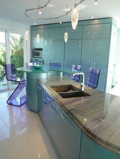 white black aqua kitchen - Google Search