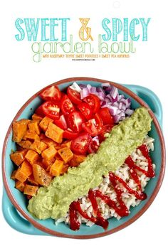Sweet and Spicy Garden Bowl with roasted sweet potato, green pea hummus, and sriracha! #glutenfree #vegan