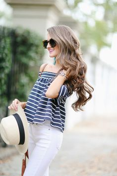 Southern Curls & Pearls: Off Shoulder Top in Charleston...